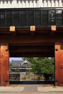 現存する日本最古の五重天守の松本城 日本100名城 鼓楼と内堀の石垣と櫓の写真素材 [FYI04303506]