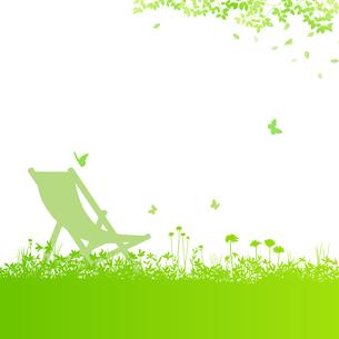 野原に蝶とアウトドアチェアのイラスト素材 [FYI04303633]