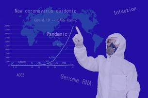 伝染病のパンデミックを示す防護服の男性イメージの写真素材 [FYI04303758]