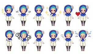 可愛い女の子キャラクターのSDイラストセットのイラスト素材 [FYI04303794]
