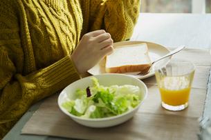 20代女性の朝食風景の写真素材 [FYI04303842]