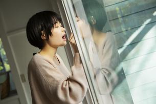 窓拭きをする20代女性の写真素材 [FYI04304033]