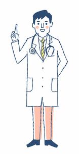 説明する男性医師のイラスト素材 [FYI04304089]