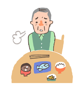 食欲がない高齢の男性のイラスト素材 [FYI04304119]