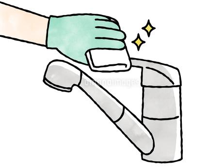 水栓レバーハンドル-掃除・除菌-水彩のイラスト素材 [FYI04304523]
