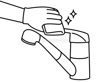 水栓レバーハンドル-掃除・除菌-白黒のイラスト素材 [FYI04304524]