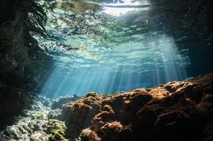 水中に降り注ぐ光の写真素材 [FYI04304771]