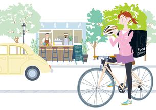 自転車でフードデリバリーをする女性配達員のイラスト素材 [FYI04304850]