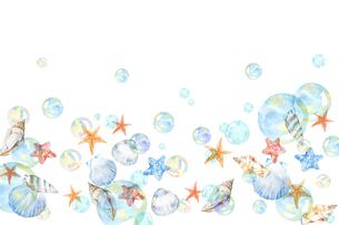 貝殻とシャボン玉のイラスト素材 [FYI04305373]