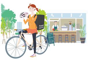自転車でフードデリバリーをする女性配達員のイラスト素材 [FYI04305599]