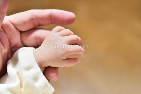 赤ちゃんとパパの手の写真素材 [FYI04305636]