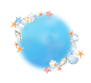 貝殻フレームのイラスト素材 [FYI04305917]