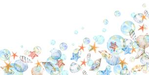 貝殻とシャボン玉のイラスト素材 [FYI04305918]