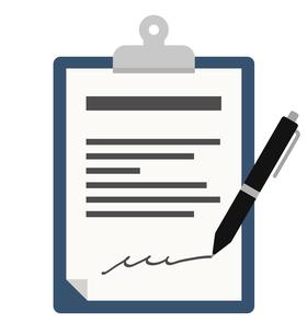書類にペンでサインをするイラストのイラスト素材 [FYI04305974]