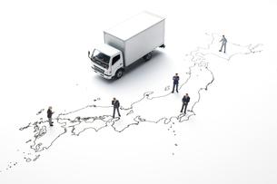 日本地図とトラックの写真素材 [FYI04306000]