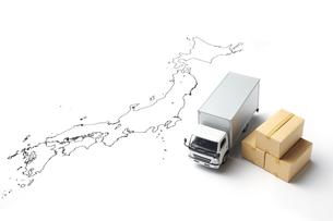 日本地図とトラックの写真素材 [FYI04306002]