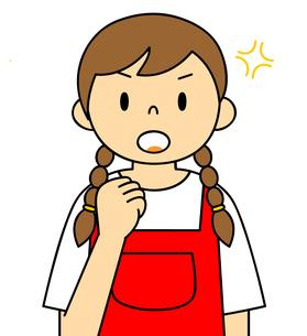 エプロンを着ている若い女性 ガッツポーズ イラストのイラスト素材 [FYI04306684]