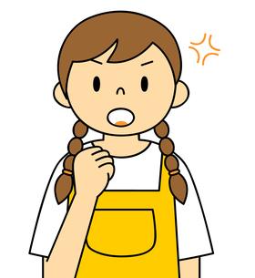 エプロンを着ている若い女性 ガッツポーズ イラストのイラスト素材 [FYI04306686]