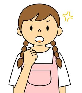 エプロンを着ている若い女性 ガッツポーズ イラストのイラスト素材 [FYI04306688]
