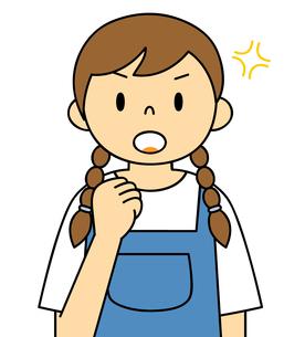 エプロンを着ている若い女性 ガッツポーズ イラストのイラスト素材 [FYI04306690]