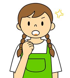 エプロンを着ている若い女性 ガッツポーズ イラストのイラスト素材 [FYI04306692]