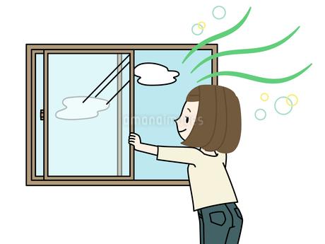 窓を開けて換気をする女性のイラスト素材 [FYI04306776]