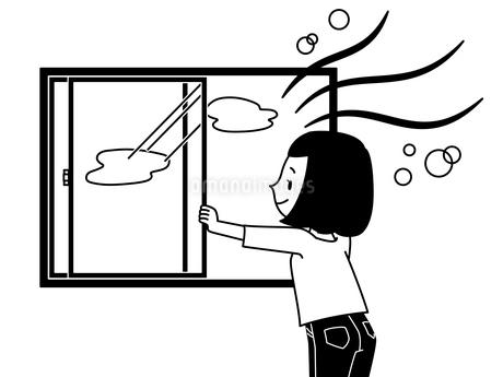 窓を開けて換気をする女性-白黒のイラスト素材 [FYI04306778]