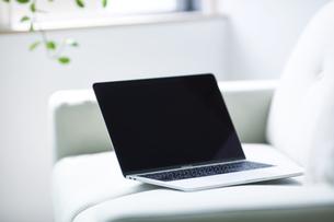 ノートパソコンとソファの写真素材 [FYI04307012]