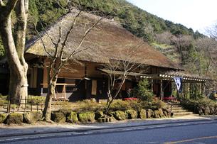 箱根旧東海道沿いにある茅葺づくりの甘酒茶屋の写真素材 [FYI04307261]