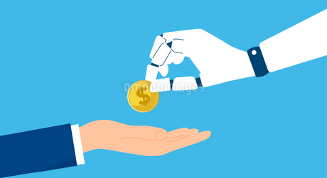 RPA、ロボットとお金のイメージのイラスト素材 [FYI04307404]