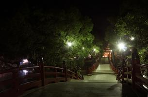 太宰府天満宮の夜の太鼓橋の写真素材 [FYI04307784]