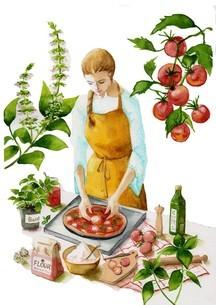 ピザを作る トマト バジル ハーブのイラスト素材 [FYI04307902]