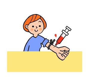 採血をする女性のイラスト素材 [FYI04308249]
