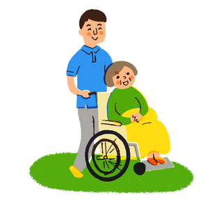 介護 ヘルパーと車椅子のおばあちゃんのイラスト素材 [FYI04308250]