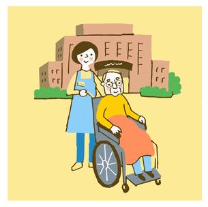 介護施設  車椅子のおじいさんと介護者のイラスト素材 [FYI04308251]
