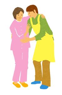 介護 歩行介助するエプロン姿の男性とシニア女性のイラスト素材 [FYI04308261]