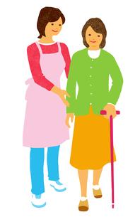 介護 歩行介助をするエプロン姿の女性とシニア女性のイラスト素材 [FYI04308262]