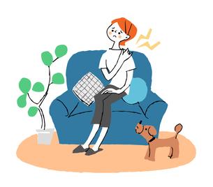ソファに座っている肩こりの女性のイラスト素材 [FYI04308263]