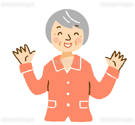 喜ぶパジャマ姿のおばあちゃんのイラスト素材 [FYI04308265]
