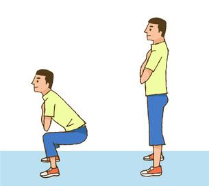 スクワット運動をする男性のイラスト素材 [FYI04308266]