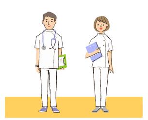 白衣の男女2人 医療従事者のイラスト素材 [FYI04308269]
