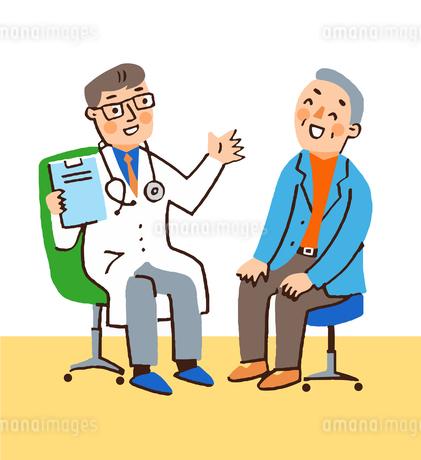 医師と笑顔の男性患者のイラスト素材 [FYI04308270]