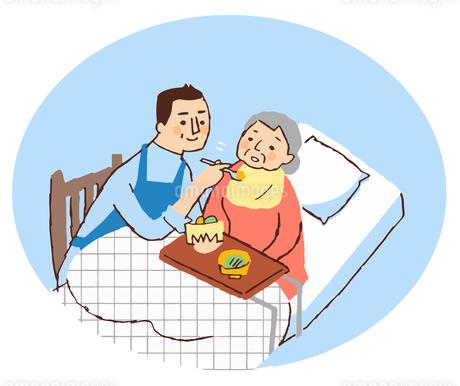 介護する男性とおばあちゃん 食事の介助のイラスト素材 [FYI04308273]