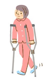 松葉杖で歩く女性のイラスト素材 [FYI04308275]