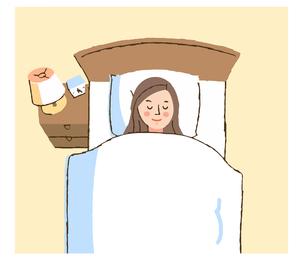 ベッドで眠る女性のイラスト素材 [FYI04308276]