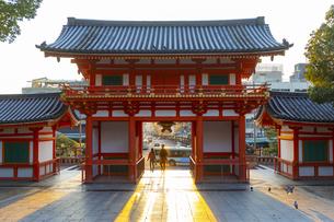 夕日を浴びる八坂神社の西楼門の写真素材 [FYI04308553]