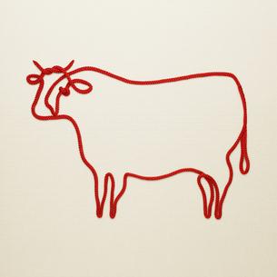 赤い紐でつくった丑(ウシ)のイメージの写真素材 [FYI04308615]