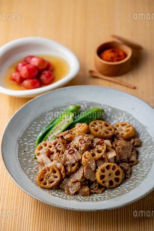 Kinpira Renkon,pork sauteed with lotus root. Delicious Japanese cuisine.の写真素材 [FYI04308640]
