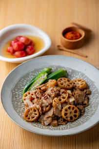 Kinpira Renkon,pork sauteed with lotus root. Delicious Japanese cuisine.の写真素材 [FYI04308640]