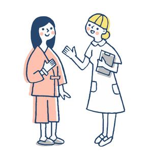 看護師と検査着を着た女性患者のイラスト素材 [FYI04308813]